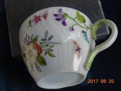 Katicabogár,lepke,dombor virág mintás antik mokkás csésze Meissen?.Láng Mihály?