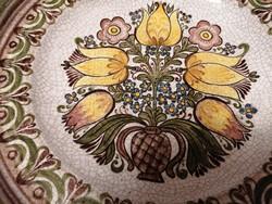 Csodaszép, hatalmas, 35 cm átmérőjű, kézzel festett, Gmundner (osztrák) kerámia tál.