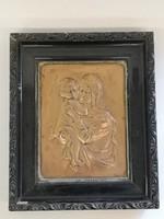 Mária a kis Jézussal kalapált vörösréz falikép keretben