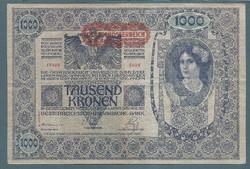 1000 Korona 1902 VF+ Deutschösterreich bélyegzés Hátlap Ornament II. Kiadás