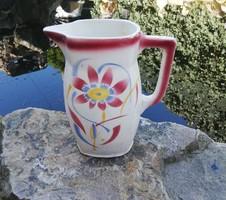 Ritka régi fajansz Városlődi virágos kancsó, Gyűjtői érett szépség, paraszti dekoráció