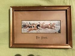 """Angol szövött selyemkép Stevengraph lovas""""The Start"""""""
