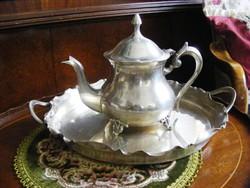 Rendkívül különleges, ritka, egyedi, kb. 100 éves, antik, ezüstözött, teás kanna, gyönyörű tálcával