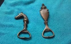 2  db Antik tömör réz figurális sörnyitó