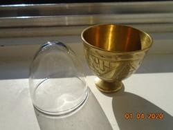 Török ottomán ZARF kávés pohár tartó kézzel vésett,kalapált egyedi mintákkal,tűzálló üveg pohárral