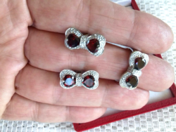Elbűvölő valódi gránát köves gyűrű 52-es, fülbevaló 925 ezüst szett