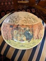 Zsolnay Klein Ármin talpas asztali kínáló romantikus jelenettel-1882-ből,hibátlan állapotban!