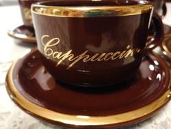 Négy Waechtersbach cappuccinos szett (csésze és alj). Csokoládébarna, gyönyörű aranyozással.
