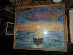 Egyeki A.szignós akvarell festmény, aranyhíddal, méret jelezve