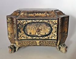 Kínai lakkozott tea tartó doboz 19.század 1. feléből