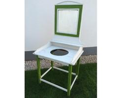 Régi fa mosdóállvány vintage tükrös mosdó tartó állvány fenyő bútor