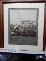 Hajóroncs fotó 1906.Ritka életkép antik fotó keretezve