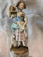 Leányka madár kalitkával,Porcelán figura