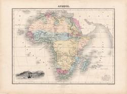 Afrika térkép 1880, francia, atlasz, eredeti, 34 x 47 cm, Madagaszkár, Egyiptom, Szahara, régi