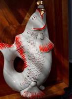 Retro hal figurás porcelán pálinkás szet - paraszti dekoráció, nosztalgia darab