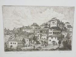 Gross Arnold korai, fekete-fehér rézkarca: Tirnovo (Bulgária)