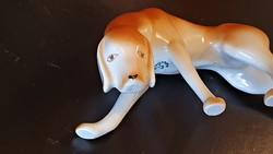 Hollóházi porcelán Art Deco vadász kutya, vizsla.