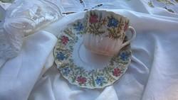 Antik Sarreguemines francia fajansz teás-kávés csésze tányérral 19 sz.