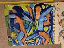 Németh Miklós 12 db 44x47 centis + egy 44×51 centis tempera festménye, egy naptárra festette őket