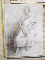 50x70, ülő női alak lepelben grafika