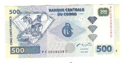 500 frank francs 2002 Kongó UNC 2.