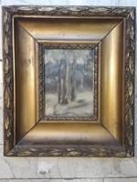 Pór jelzéssel, 25 x 18 cm-es, olaj, karton , festmény.