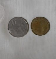 Szerb pénz – érme, 5 és 10 dinár (2005)