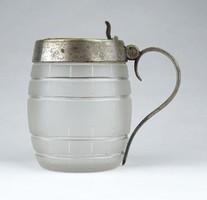 0Z951 Antik hordó alakú fújt üveg bonbonier cukortartó ~ 1900 körül