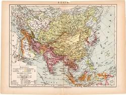 Ázsia térkép 1892 (2), eredeti, régi, Athenaeum, magyar, 24 x 31 cm, India, Kína Tibet, politikai