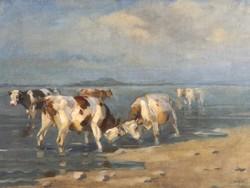 Viski János ( 1891-1987 )  Eredeti Festmény, Tehenek a Balatonban