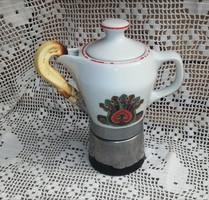 Hollóházi porcelán kávéfőző, nosztalgia darab, paraszti dekoráció