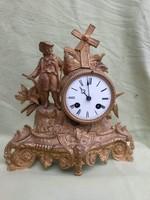 Francia szerkezettel asztali kandalló óra figurás