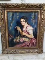 Bendéné Kovacsev Friderika fiatal lány virágcsokorral portré festmény