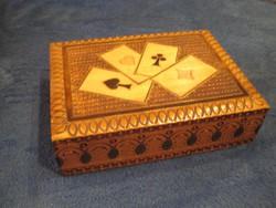 Kártyatartó doboz  , kártyákkal  , Piatnik Nándor és Fiai   , méret 160 x 120 x 75 mm