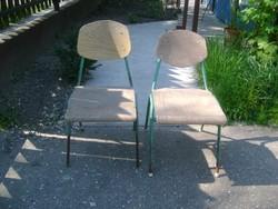 Retro csővázas iskolai szék - két darab