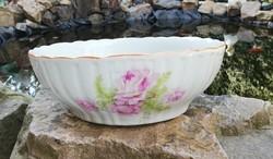 24.5 cm-es rózsás Zsolnay porcelán pogácsás tál, paraszttál, Gyűjtői darab, nosztalgia