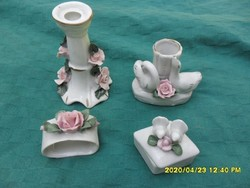 4 db rózsás porcelán gyertyatartó,szalvétagyűrű,váza ékszertartó  disztárgy