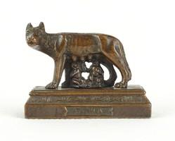 1A119 Róma születése régi bronzírozott ón szobor Capitoliumi farkas