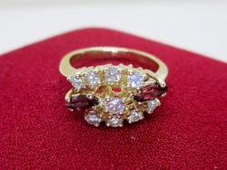 Különleges antik rubin és 0.59ct brill arany gyűrű