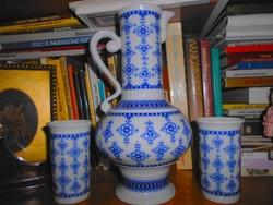 Wallendorf  német porcelán  kancsó + 2 db pohár -kobalt festéssel