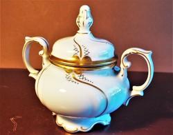 Vintage Freiberger porcelán cukortartó, német gyártmány, hófehér színű, arany díszítéssel