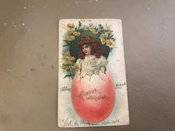 Húsvéti 1900 . Szecis virágokkal ,kislány tojásból