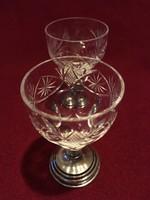 Antik/1800/- as évek Ezüst Kristály  Likörös Poharak /5db/+1db Ezüst talpú Kristàly Váza!!!