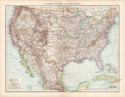 Amerikai Egyesült Államok térkép 1881, német, eredeti, 41 x 53 cm, hátoldalán is térképek, Amerika