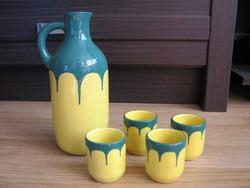 Tófej kerámia sárga-zöld