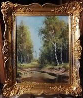 László Szabó - forest detail (40 x 50, oil, fabulous gilded blonde frame)
