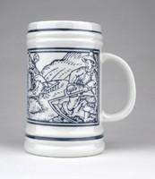 1A324 Jelezett Hollóházi porcelán söröskorsó 9.5cm