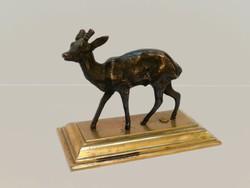 Századfordulós Őz Bronz Állatfigura Szobor Réz Szarvas Antilop Muflon Trófea Szarvasféle