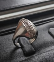 14 karátos fehér arany íves brillköves gyűrű - ÚJ