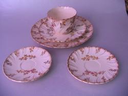 Antik Sarreguemines csésze és tányérok (5 db egyben)